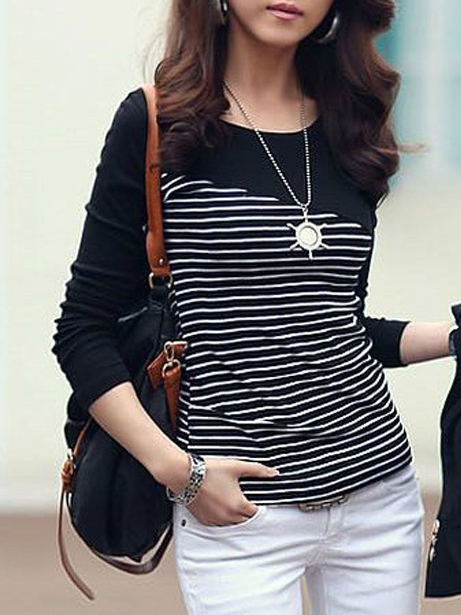 BerryLook Autumn Spring  Polyester  Women  Round Neck  Patchwork  Striped Long Sleeve T-Shirts