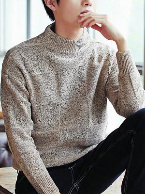High Neck  Plaid Men'S Sweater