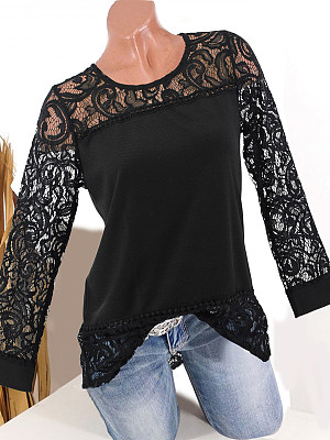 Round Neck Patchwork Elegant Lace Plain Long Sleeve T-Shirts, 8209116