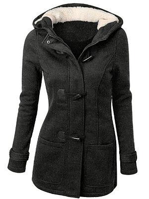 Berrylook coupon: Hooded  Patch Pocket  Plain Woolen Coat