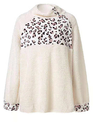 High Neck Patchwork Leopard Long Sleeve Plush Sweatshirts, 5917217