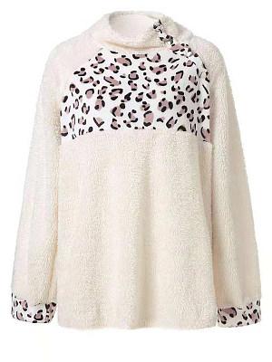 High Neck Patchwork Leopard Long Sleeve Plush Sweatshirts