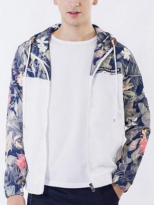 Berrylook coupon: Hooded Pocket Floral Printed Men Coat