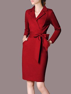 Berrylook coupon: Fold-Over Collar  Patch Pocket  Plain Bodycon Dress