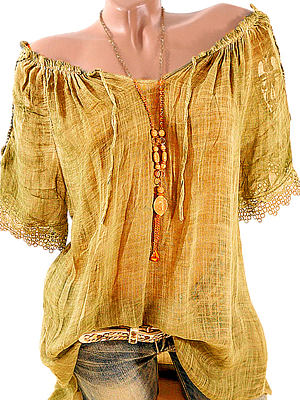 Berrylook coupon: Spring Summer  Cotton Polyester  Women  Open Shoulder  Decorative Lace  Plain  Short Sleeve Blouses