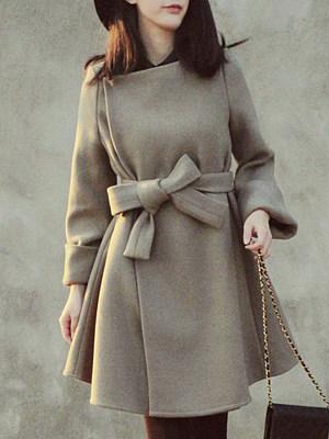 Asymmetric Neck Belt Plain Long Sleeve Coats