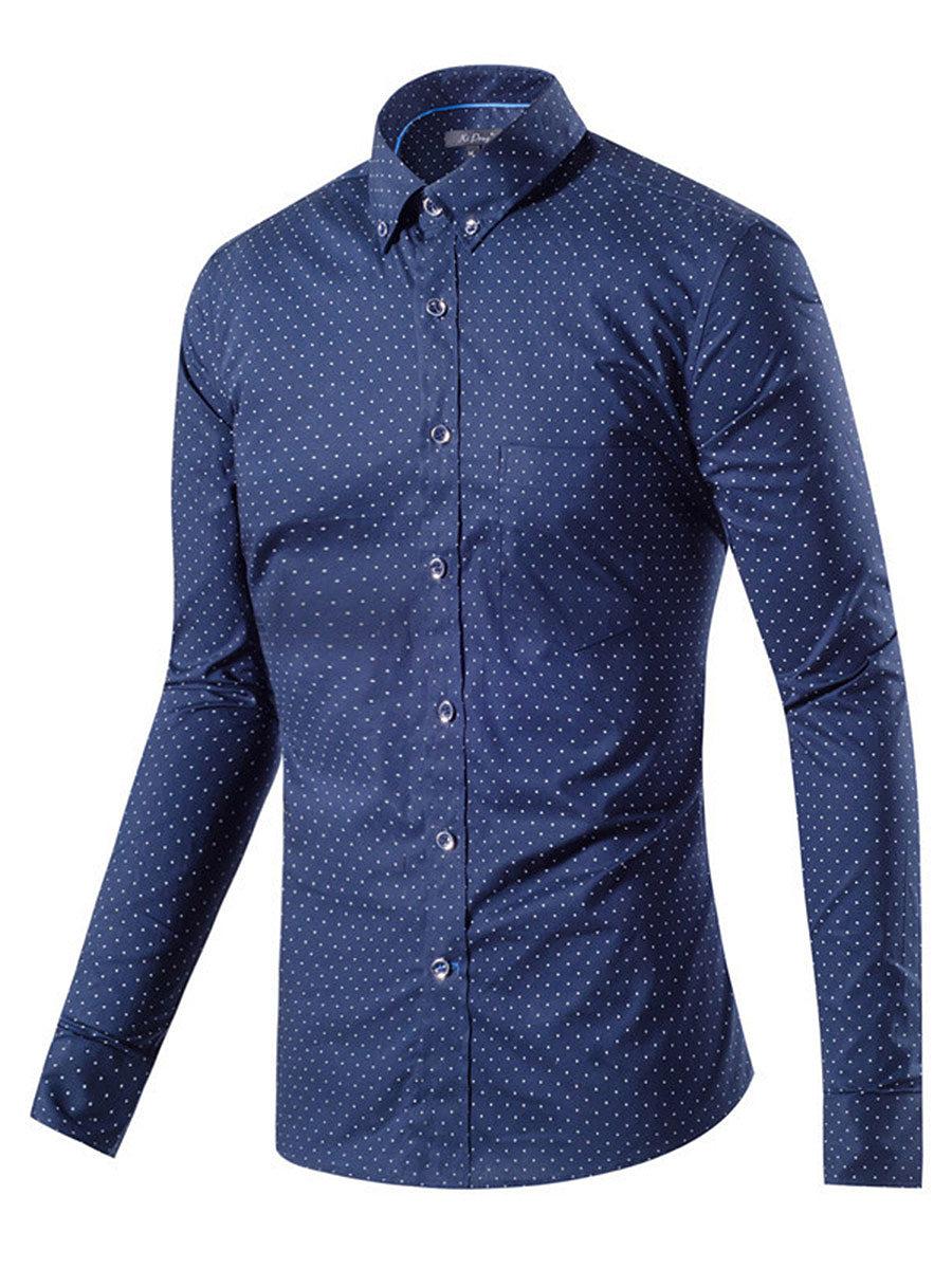 Button Down Collar Patch Pocket Polka Dot Men Shirts