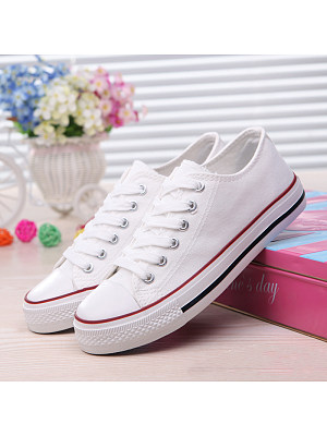 Plain Flat Criss Cross Round Toe Casual Sport Sneakers, 4818993