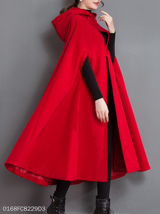 Longline Hooded Plain Woolen Cape Sleeve Coat Berrylook Com