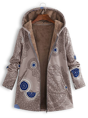 Berrylook coupon: Hooded  Abstract Print Coat