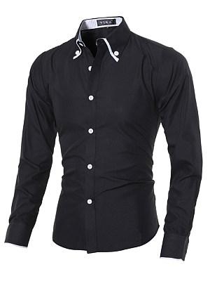 Berrylook coupon: Button Down Collar Contrast Trim Men Shirts