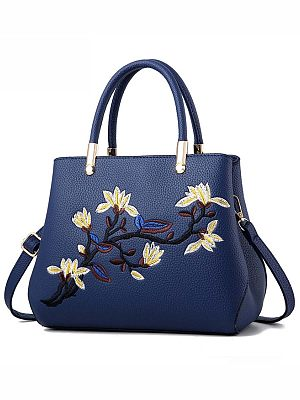 Berrylook coupon: Floral Embroidery Pu Shoulder Bag