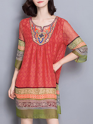 Round Neck Beading Color Block Shift Dress, 4263454