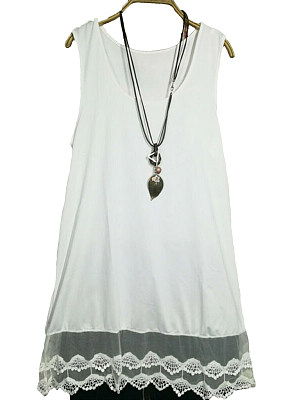 Round Neck  Patchwork  Lace Plain Sleeveless T-Shirts