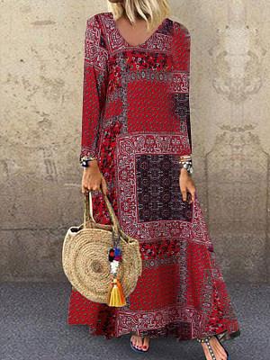 Berrylook coupon: Long-Sleeved Printing Loose Waist Split-Joint Dress