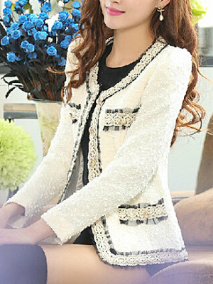 Berrylook coupon: Collarless  Contrast Trim Decorative Lace Single Breasted  Plain Blazers
