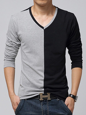 Men Modern V-Neck Color Block T-Shirt