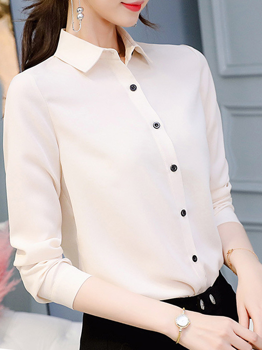 Turn Down Collar Plain Blouses
