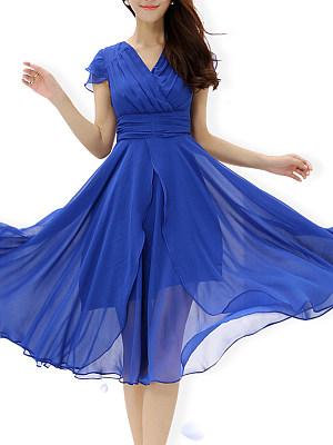 V Neck Asymmetric Hem Plain Maxi Dress, 6876154
