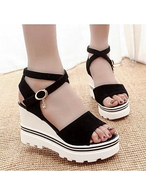 Plain High Heeled Velvet Ankle Strap Peep Toe Date Outdoor Wedge Sandals, 4762410