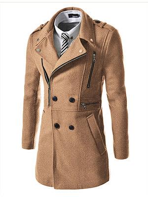 Berrylook coupon: Men Lapel Double Breasted Zips Plain Pocket Woolen Coat