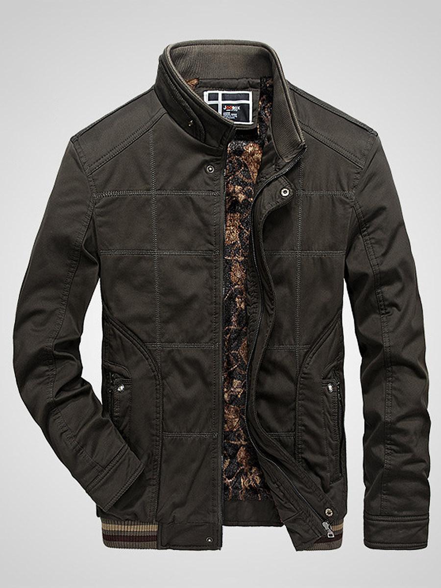 BerryLook Band Collar Fleece Lined Zips Pocket Men Jacket