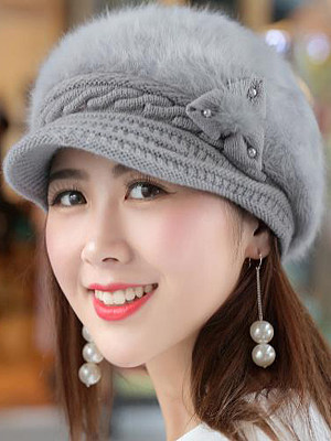 Berrylook coupon: Winter Warm Faux Leather Crochet Plain Cotton Thick Hats