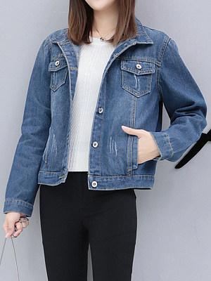 Fold Over Collar Flap Pocket Plain Jacket