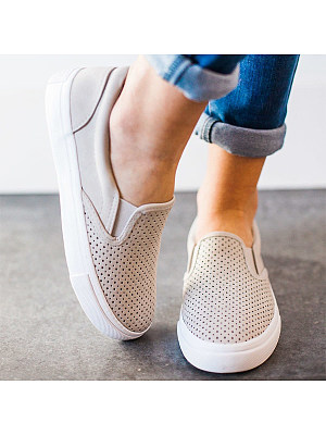 Plain Flat Round Toe Casual Sneakers, 6455743