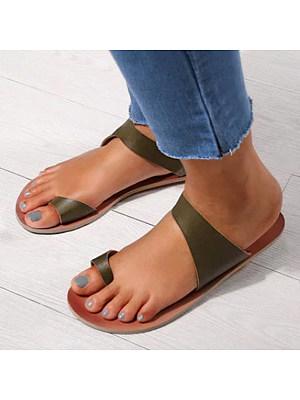 Plain Flat Peep Toe Casual Slippers, 4678967