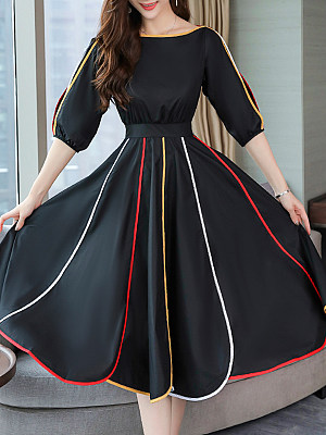 Round Neck  Contrast Trim  Color Block Maxi Dress collar_&_neckline:round neck, embellishment:contrast trim, material:cotton, occasion:basic,casual, package_included:dress*1, season:summer, sleeve_length:half sleeve, style:elegant, how_to_wash:cold gentle machine wash, supplementary_matters:all dimensions are measured manually with a deviation of 2 to 4cm., length:112,sleeve length:39,bust:90,