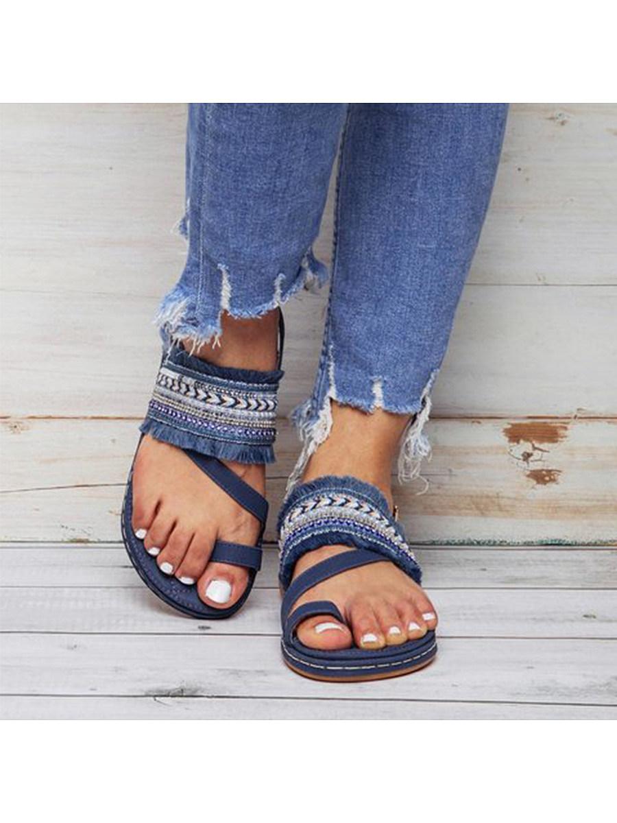 BerryLook Bohemian Flat Peep Toe Date  Flat Sandals