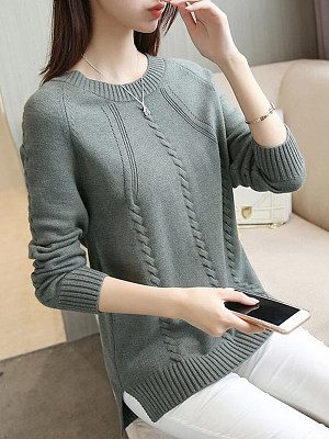 Round Neck Patchwork Elegant Plain Long Sleeve Knit Pullover фото