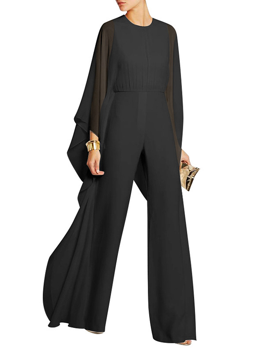 BerryLook Solid Cape Sleeve Hollow Out Chiffon Wide-Leg Jumpsuit