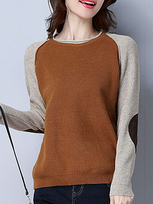 Round  Neck  Patchwork  Cute  Color Block  Long Sleeve  Knit  Pullover