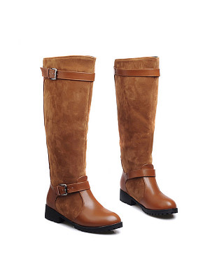 Berrylook coupon: Plain  Low Heeled  Round Toe  Date Outdoor  Knee High Flat Boots
