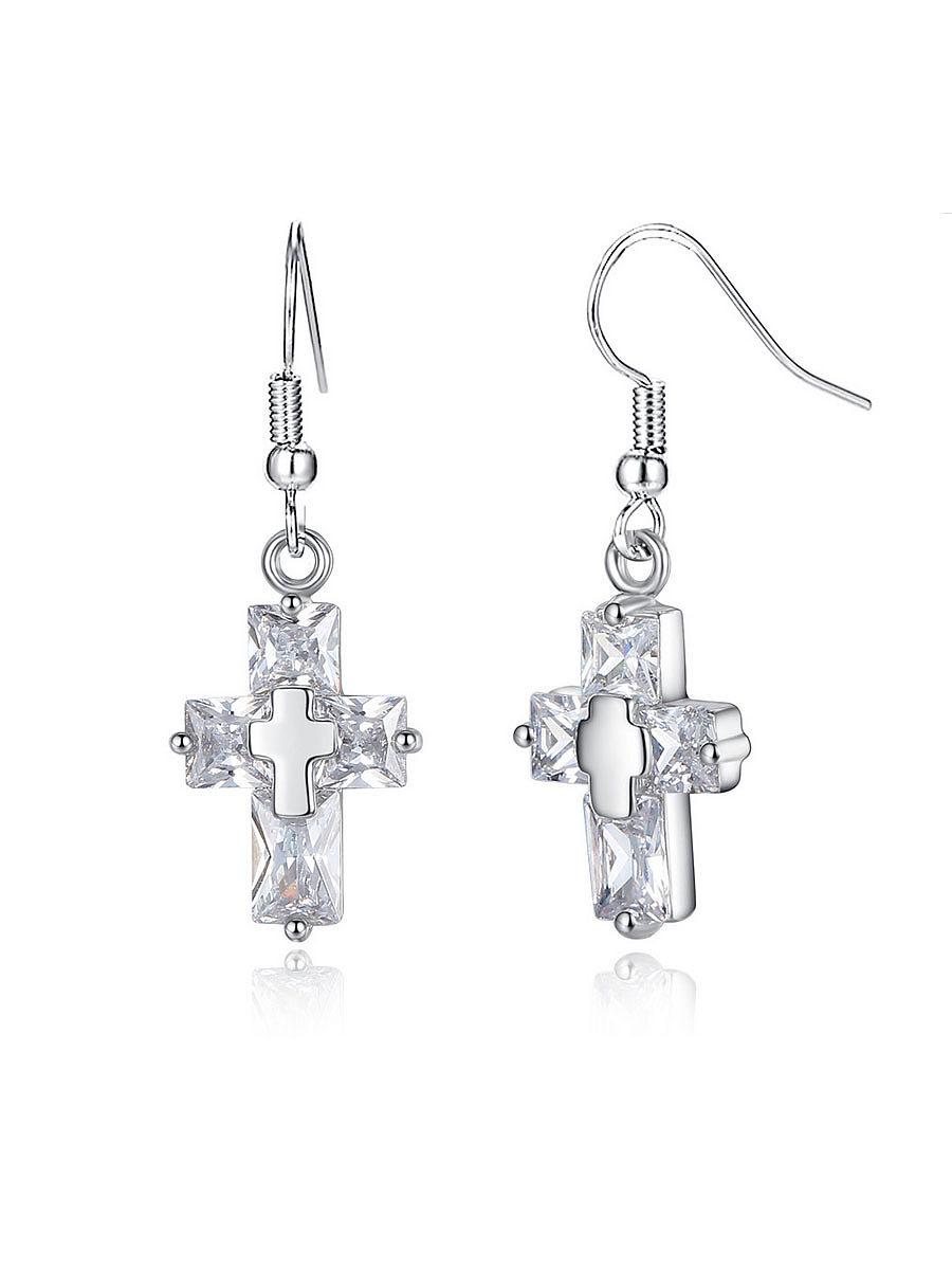 Alloy Chain Cross Pendant Earrings