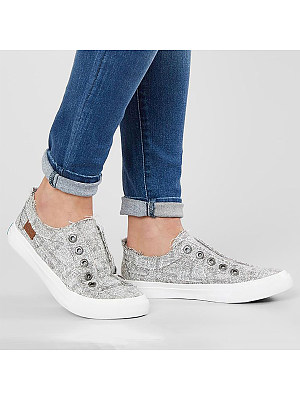 Berrylook coupon: Light Wash Flat Round Toe Casual  Sneakers