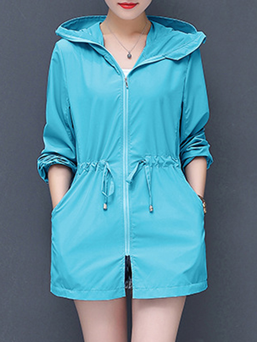 BerryLook Hooded  Drawstring  Plain Trench Coat