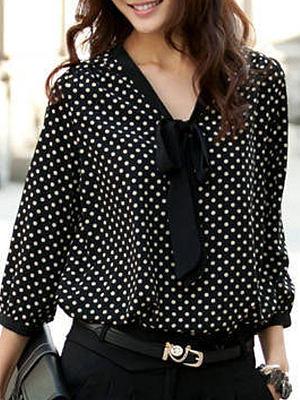 Berrylook coupon: Spring Summer  Chiffon  Women  Tie Collar  Polka Dot  Long Sleeve Blouses