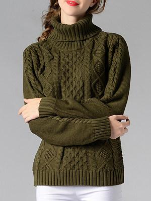 Heap Collar Elegant Plain Long Sleeve Knit Pullover, 10001122