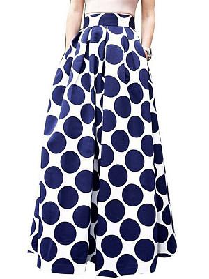 Flared Polka Dot Maxi Skirts