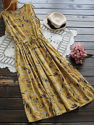 Berrylook coupon: Round Neck  Drawstring  Floral Printed Maxi Dress