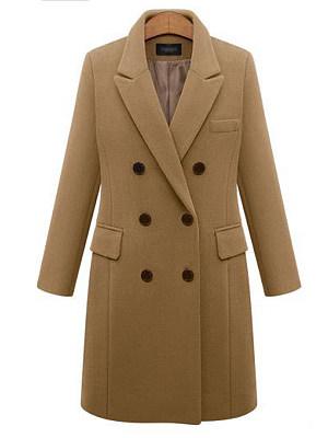 Berrylook coupon: Lapel  Double Breasted Flap Pocket  Plain  Long Sleeve Coats