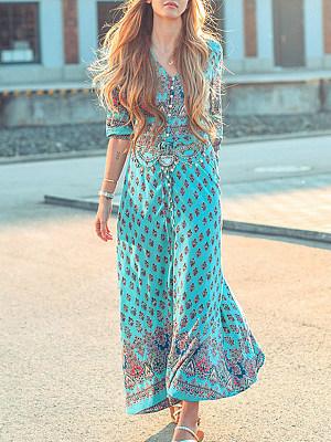 Berrylook coupon: V Neck  Single Breasted Slit  Print Maxi Dress