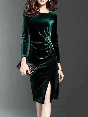 Berrylook coupon: Round Neck  Slit  Plain Bodycon Dress