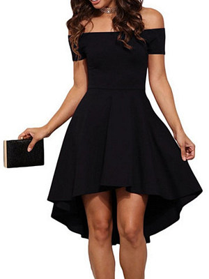 Berrylook coupon: Open Shoulder  Asymmetric Hem  Plain  Raglan Sleeve Skater Dress