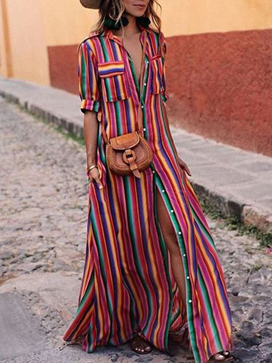 Button Down Collar  Stripes  Roll Up Sleeve  Half Sleeve Maxi Dresses