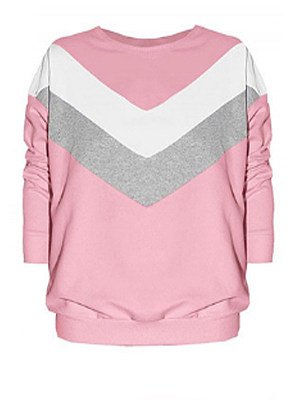 Round Neck  Color Block  Long Sleeve Sweatshirts