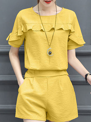 Berrylook coupon: Summer  Polyester  Women  Round Neck  Flounce  Plain  Short Sleeve Blouses And Shorts